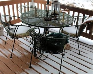 """Metal Patio Set Including 48"""" Round Table With Four Chairs, Includes Decor On Table Top"""