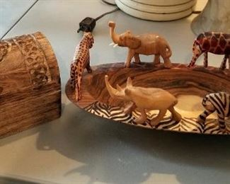 Carved Wood Bowl With African Wildlife Figures, Made In Kenya, And Carved Wood Lidded Box