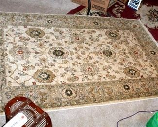 """Floral Motif Area Rug, 80.5""""' x 59.5"""", And Transitional Style Area Rug With Fringe Detail, 73"""" x 45"""""""