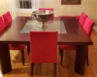 """$1999 Magnificent """"Visions"""" square dining table, 66"""" square and 29"""" tall. Mahogany with glass insert. Neat matching bench and 6 chairs. All with Smithekote fabric protectant."""