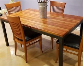 """$325 Cherry butcherblock parsons table, 60"""" x 30"""" x 29"""" tall with 4 chairs"""