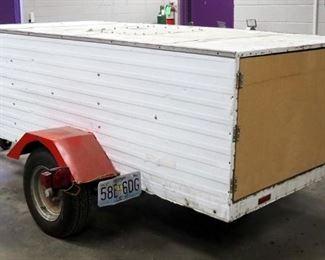 "Custom Built Single Axle Trailer With Cargo Box, Sheet Metal Exterior, 108.25"" x 73.5"" x 34"", 1 7/8"" Ball Hitch"