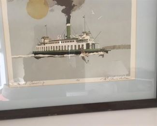 Norman C. Amundsen serigraph of ferry boat-local artist-illustrator for the Seattle Times-NW scene!