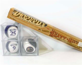 "Heavy Hitter 17"" Carved Baseball Bat & Baseballs"