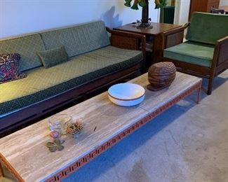 """Danish Modern Sofa with Cane  Back and Sides 31.5'' deep by 29.5' High by 78"""" wide and matching  Danish Modern Chair 27"""" wide by 30"""" deep by 29.5"""" High -Pair$1500 Both in excellent condition.  MCM Wrought Iron Coffee Table with Greek key design (with cracked marble top )19.75"""" W by 11.5"""" H by 72"""" Long $200"""