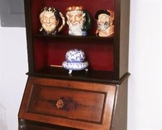 ANTIQUE SECRETARY, ROYAL DOULTON TOBY MUGS, SHAKESPEARE COLLECTION (7 IN TOTAL)