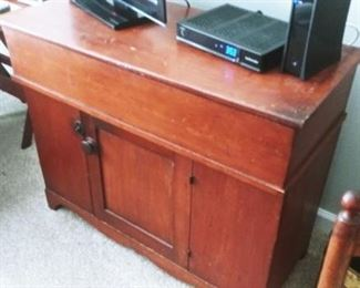 ANTIQUE CHEST, TOP LIFTS  UP FOR MORE STORAGE  - PINE