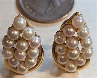 14k gold pearl earrings $450