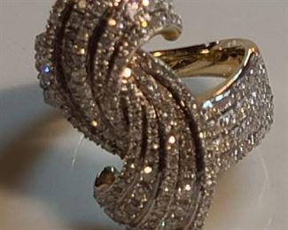 14k teo tone pave diamond ring $550