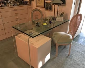 """1970s Lucite, Glass & Chrome Desk 52.5"""" long by 23.75"""" wide.   ,  2 Chairs are the same as two in the bedroom, but painted different colors, File cabinet"""