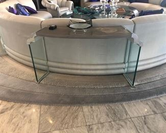 Pair of curved console tables