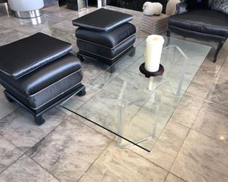 """Lucite and Glass coffee table 54"""" x 24"""""""