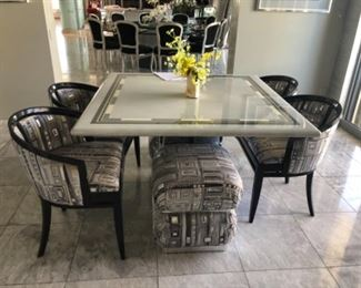 """Breakfast set with 2 sets of attached double chairs.  Table is 48""""."""