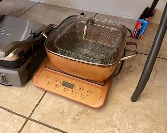 Induction cook top with fryer add on