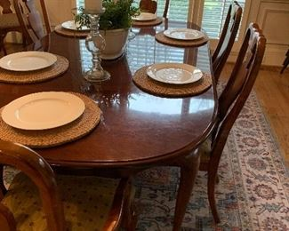 """$425.00 Solid  Cherry Dining Room Table with Queen Anne Legs by American Drew from the """"Cherry Grove"""" collection. The table has two leaves and is shown in this picture with one...66 L x 29 H without the leaf.  Each leaf is 16 """""""