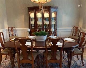 Dining Room Table/Chairs and Lighted China Cabinet by American Drew....Priced and Sold Separately