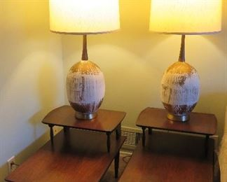 Mid-century modern step tables, lamps