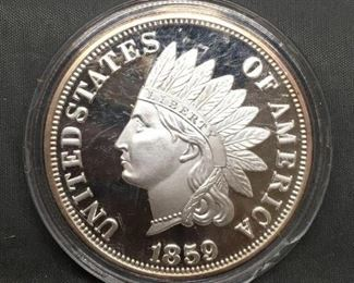 .999 Fine Silver COPY 1859 United States Indians Head Penny Cent Coin Over 1 Ounce