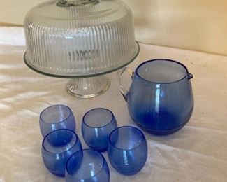 Anchor Hocking Cake Plate with Lid and Blue Pitcher with 5 Little Cups