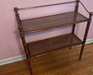 Caned Double Wood Shelf