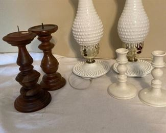 Milk Glass Lamps White Ceramic Candlesticks and Wood Candlesticks