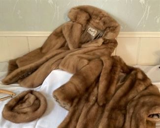 Mink Coat Stole and Hat
