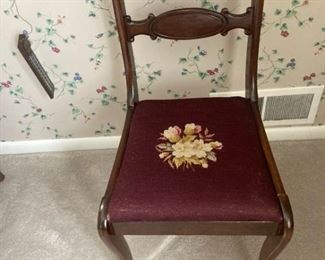 Needlepoint Seat Parlor Chair