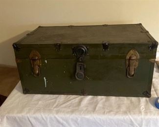 Old Metal Trunk with Liner Intact