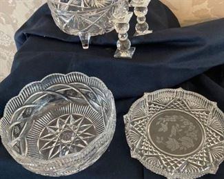 Pressed Glassware Bowls and Candlesticks