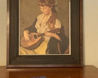 Print of Girl With Mandolin