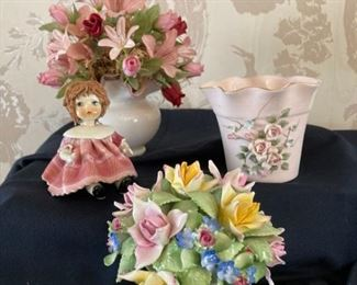 Royal Adderley Porcelain Flower Bouquet Italian Porcelain Doll Figurine Porcelain Pot and Silk Flower Arrangement