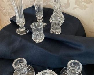 Small Vases and Candlesticks Pressed Glass and Etched Glass