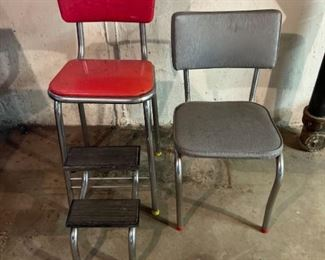 Vintage Step Stool and Chair