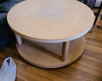 1 of 2 Mid Century Modern round coffee table with wheels