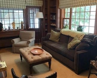 DEN FILLED WITH BOOKS AND COMFORTABLE FURNITURE - HICKORY CHAIR SOFA