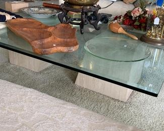 gorgeous vintage thick glass coffee table