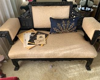 100 year old vintage Asian inspired love seat