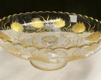 """ANTIQUE BOHEMIAN GLASS COMPOTE . GILT INTAGLIO CUT THISTLE PATTERN. 7 3/8"""" DIAMETER. POSSIBLY MOSER. UNSIGNED. FLAW ON RIM UNDER THE GOLD"""