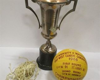 """U of W 21"""" TALL CHAMPIONSHIP TROPHY AND A 1966 BASKET BALL. From the collection of Mac Duckworth"""