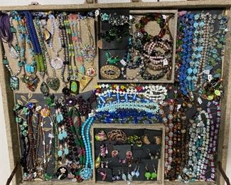 Artisan jewelry with some vintage costume jewelry mixed in, 50% off all weekend!