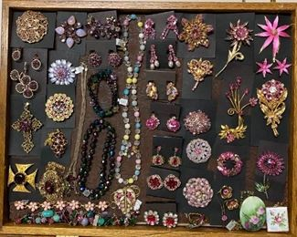Vintage costume jewelry in pink and purple tones, 50% off all weekend!
