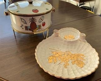Georges Briard Enamel Lidded Pot w/ Warmer and Vintage Serving Tray (Italy). The enamel pot has light wear.