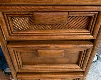"""Wood Office Desk with seven drawers. Beautiful looking desk with slight wear to the finish/mainly near the edge of the desk. Measures 51"""" x 23.5"""" x 30"""". This item is located on the second floor of the home."""