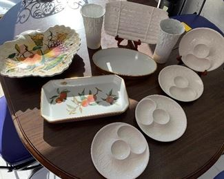 Serving Platters and More ! Includes a fruit motif platter from Italy, two vases and more!
