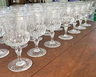 "Antique Thomas Webb English Made Antique Engraved Glassware- Absolutely Beautiful!   This gorgeous stemware pattern is possibly circa 1910, however; we are not 100% certain.   Wow! is this set truly stunning.  Most of these pieces were ordered in 1950. There is a receipt dated 10/28/1950 detailing an order of this amazing beautiful Thomas Webb ""hand engraved table glassware"" It was crated and shipped from England to Minnesota.   This lot includes a total of 109 pieces:"
