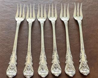 """Six Wallace Sterling Relish Forks (Sir Christopher). Each fork measures about 5.8"""""""