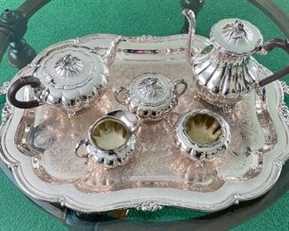 """Gorgeous Silver Plate Tea Service; Sheffield Reproduction by Community - """"Melon"""""""