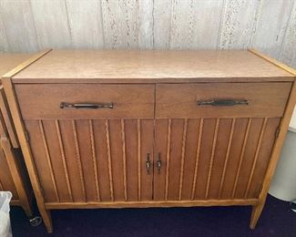 Vintage- Mid Century Console Cabinet with Storage. Two Drawer Storage With 2 Shelf Lower Storage Piece measuring 32 tall x 42 wide x 17.5 deep.