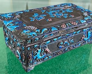 """Enameled Chinese Decorative Box - truly gorgeous! Some very slight wear on the enamel. Measures 6.75"""" x 4"""" x 2.5"""""""