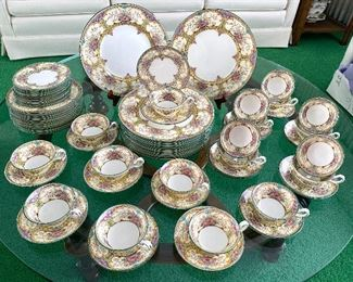 """Wedgewood China Set- """"Austell"""" -Truly a very beautiful china set! The colors and design are lovely.   12 dinner plates 12 salad plates (9 plates were found after the photos were taken) 12 bread plates  19 teacups and saucers  All in very good condition with the exception of one small """"spider crack"""" in one teacup which can be seen in one of the photos."""